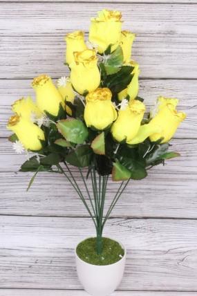 Искусственное растение - Роза в бутонах с золотым краем жёлтая Н=52 см Б10893