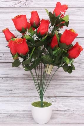 Искусственное растение - Роза в бутонах с золотым краем красная Н=52 см Б10893