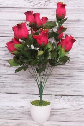 Искусственное растение - Роза в бутонах с золотым краем малиновая Н=52 см Б10893