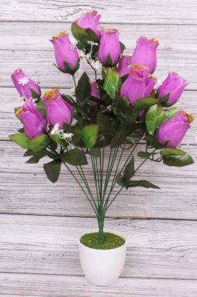 Искусственное растение - Роза в бутонах с золотым краем сиреневая Н=52 см Б10893