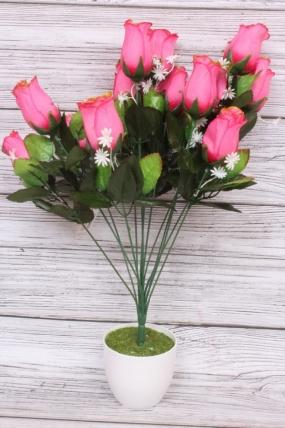 Искусственное растение - Роза в бутонах с золотым краем ярко-розовая Н=52 см Б10893