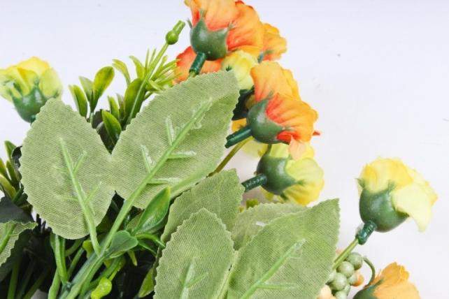 Искусственное растение - Розанчики оранжево-салатовые