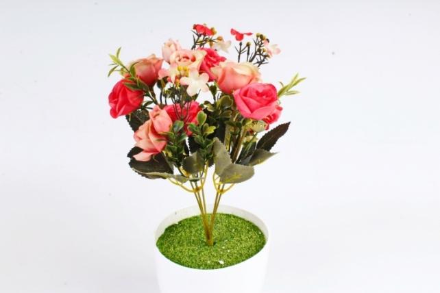 Искусственное растение - Розочки с жасмином коралловые