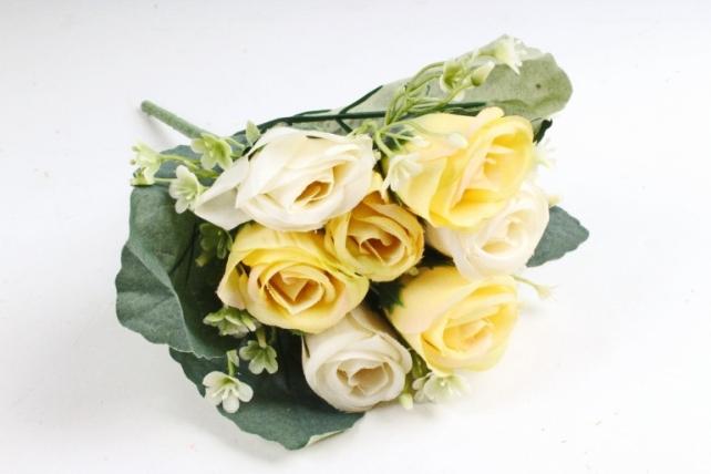 Искусственное растение - Розы Классика жёлто-белые