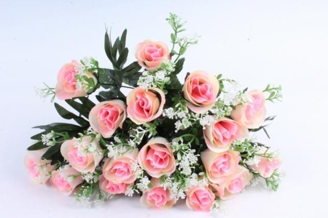 Искусственное растение - Розы с пальмой бело-розовые