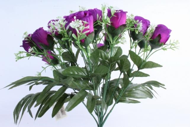Искусственное растение - Розы с пальмой фиолетовые
