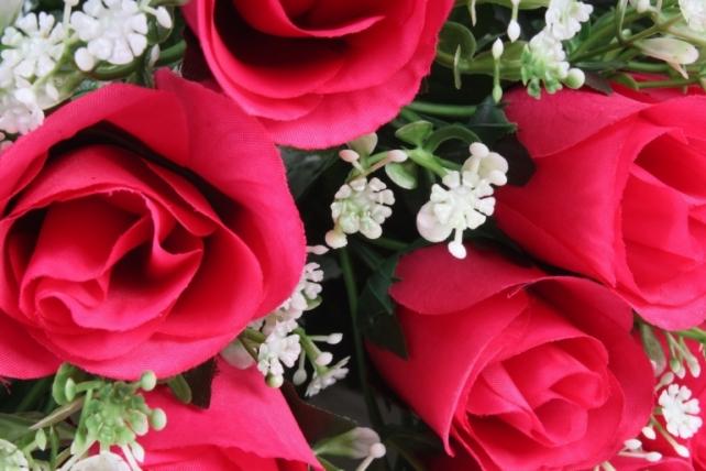 Искусственное растение - Розы с пальмой малиновые