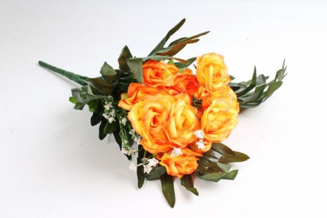 Искусственное растение - Розы с пальмой неон