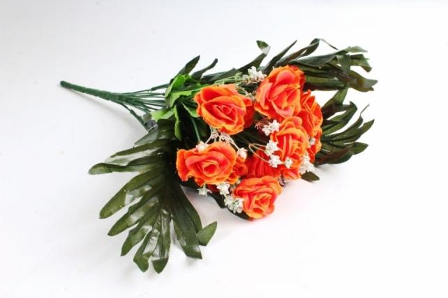 Искусственное растение - Розы с пальмой оранжевые