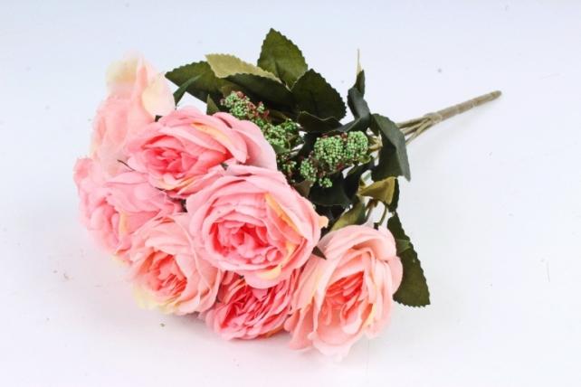 Искусственное растение - Розы с зелёным декором  коралловые
