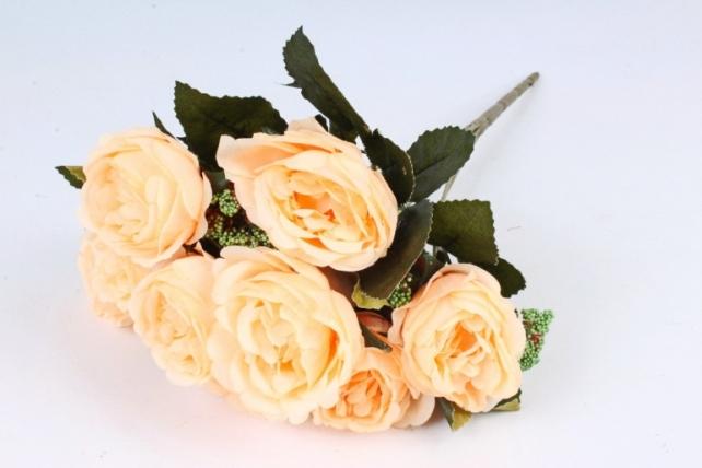 Искусственное растение - Розы с зелёным декором персиковые