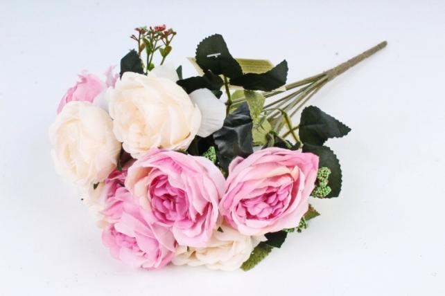 Искусственное растение - Розы с зелёным декором  шампань/пепельно-розовая