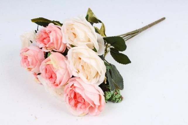 Искусственное растение - Розы с зелёным декором  шампань-розовые