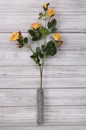 Искусственное растение - Ветка Розы 70 см лимонная