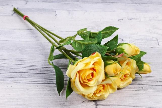 Искусственное растение - Ветка Розы 35см желтая (3 шт в уп) SUN452