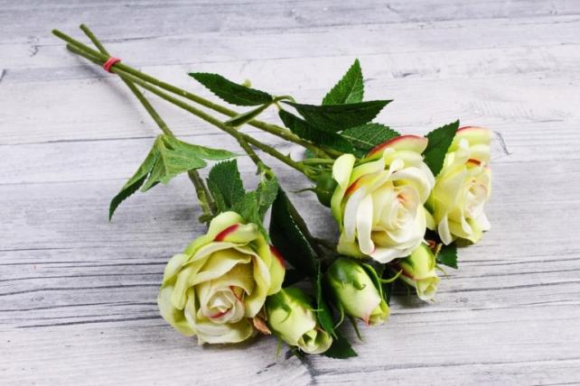 Искусственное растение - Ветка Розы 35см салатовая (3 шт в уп) SUN452