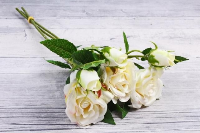Искусственное растение - Ветка Розы 35см шампань (3 шт в уп) SUN452