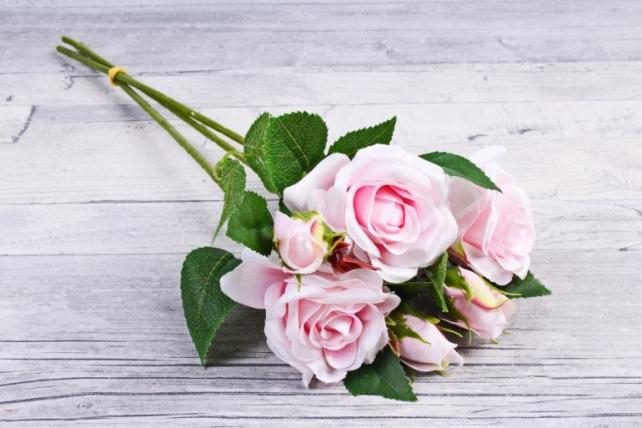 Искусственное растение - Ветка Розы 35см светло-розовый (3 шт в уп) SUN452