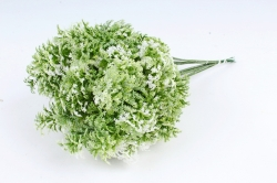 Искусственное растение - Ветка травы декор бело-зелёная  (12 шт в уп) TIK044