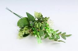 Искусственное растение - Веточка травы с цветочками  белая (3 шт в уп) LIU318