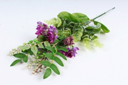 Искусственное растение - Веточка травы с цветочками  фиолетовая (3 шт в уп) LIU318
