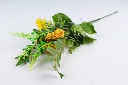 Искусственное растение - Веточка травы с цветочками  жёлтая ( 3 шт в уп) LIU318