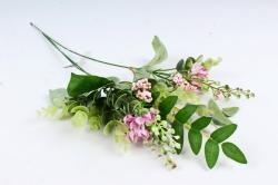 Искусственное растение - Веточка травы с цветочками  розовая (3 шт в уп) LIU318