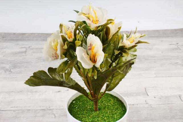 Искусственное растение -  Альстромерия пастель белая