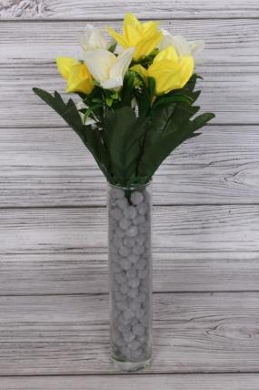 Искусственное растение -  Альстромерия яркая бело-жёлтая