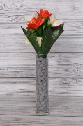 Искусственное растение -  Альстромерия яркая бело-оранжевая