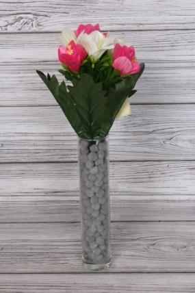 Искусственное растение -  Альстромерия яркая бело-розовая