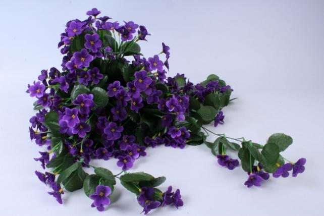 искусственное растение - букет фиалок ниспадающий фиолетовый