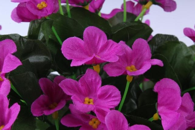 искусственное растение - букет фиалок ниспадающий малиновый