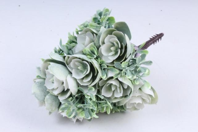Искусственное растение -  Букет конусовидной каменной розы белый  Б10246