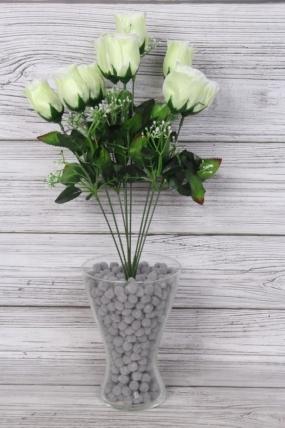 Искусственное растение -  Букет роз из 9 бутонов 53 см белые Б9778