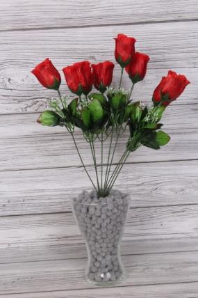 Искусственное растение -  Букет роз из 9 бутонов 53 см красные Б9778