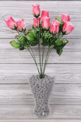 Искусственное растение -  Букет роз из 9 бутонов 53 см розовые Б9778
