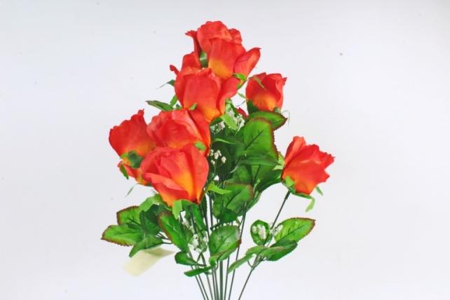 Искусственное растение -  Букет роз классический оранжевый  Б10821