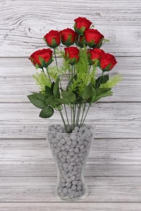Искусственное растение -  Букет роз красных бархатных 12 голов 50 см Б11209