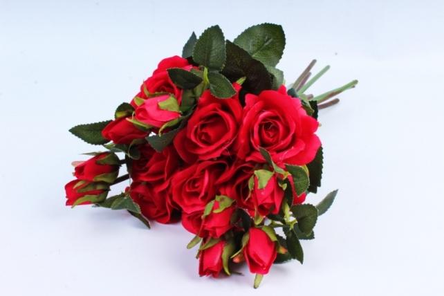 Искусственное растение- Букет роз красный (8 шт) YH153