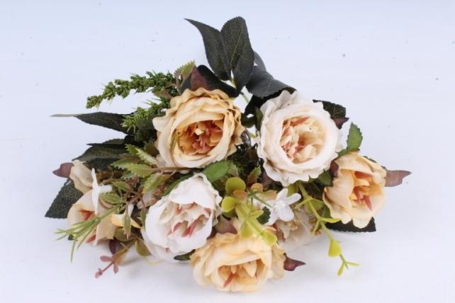 Искусственное растение -  Букет розы Асти кремовый