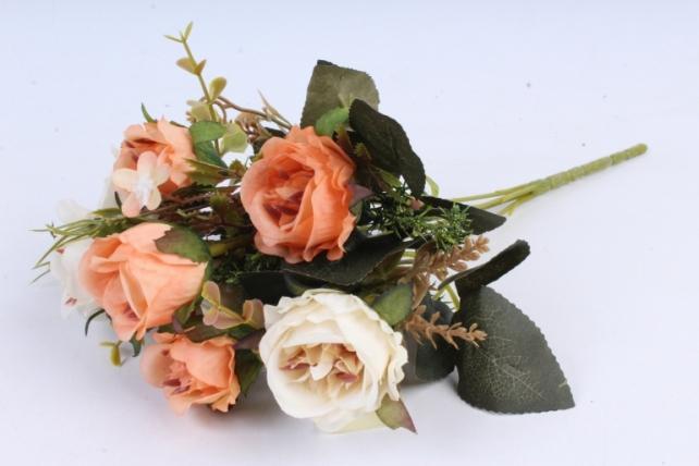 Искусственное растение -  Букет розы Асти персиковый