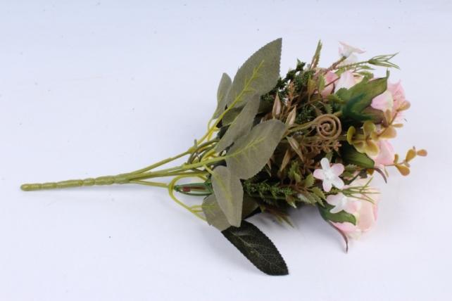 Искусственное растение -  Букет розы Асти розовый