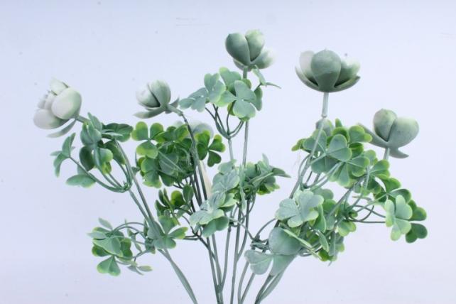 Искусственное растение -  Букет суккулента каменная роза белый  Б10247