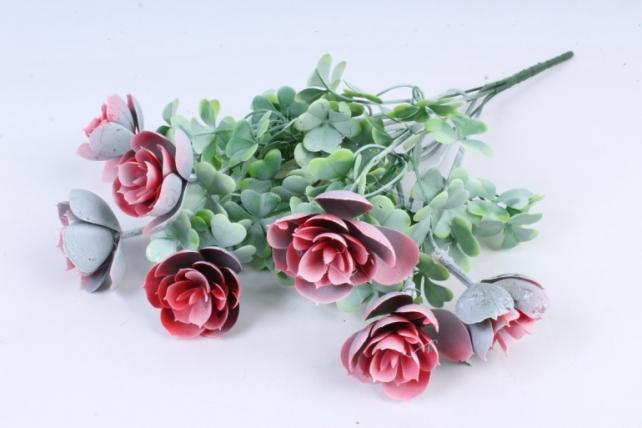 Искусственное растение -  Букет суккулента каменная роза персиковый  Б10247