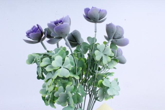 Искусственное растение -  Букет суккулента каменная роза сиреневый  Б10247
