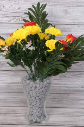 Искусственное растение -  Букет в листьях пальмы желто-оранжевый
