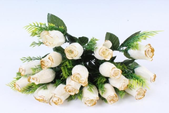Искусственное растение -  Бутоны роз мраморные с золотом белые Б10289