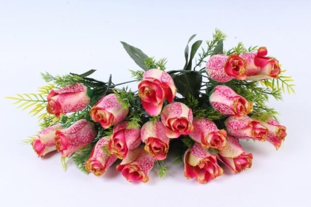 Искусственное растение -  Бутоны роз мраморные с золотом фуксия Б10289