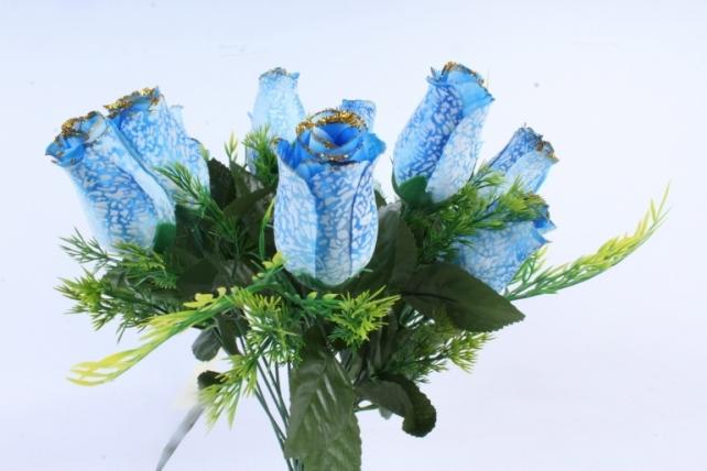 Искусственное растение -  Бутоны роз мраморные с золотом голубые Б10289